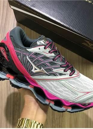 Tênis mizuno wave prophecy 8 prata /pink