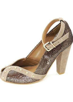 Peep toe infinity shoes brilho bronze