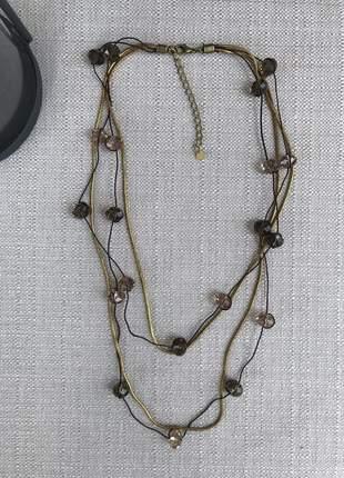 Conjunto de colar em corda, corrente e cristais