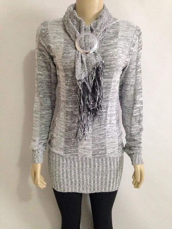 356ea6ee9 Blusa de frio tricot cacharel cinza - R$ 60.00 #17423, compre agora ...