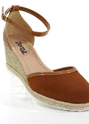 Sandália feminina anabela espadrille doma shoes marrom