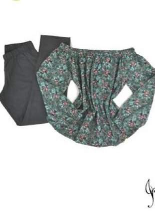 Pijama alfaiataria floral verde