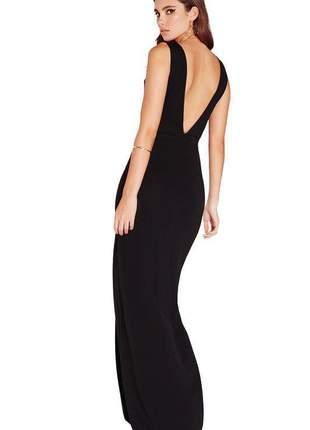 Vestido feminino longo com decote em v nas costas