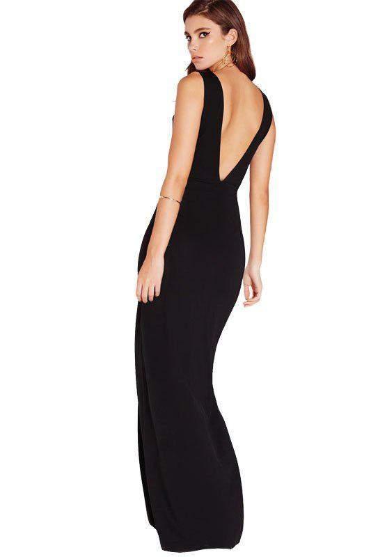 cee24d234 Vestido feminino longo com decote em v nas costas - R$ 94.99 (com ...
