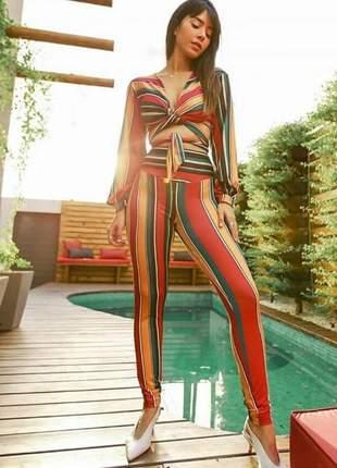 Conjunto fashion calça e cropped amarração listrado color