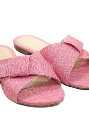 Rasteira butique de sapatos em linho laço lateral - s3124-37