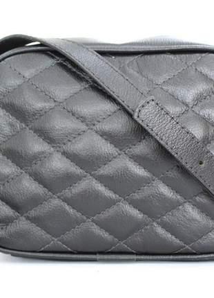 Bolsa couro dali shoes  transversal matelassê e alça tiracolo preta