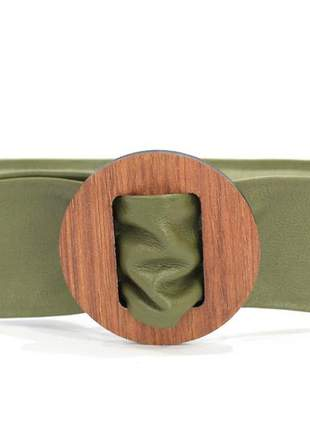 Cinto faixa couro dali shoes fivela madeira verde militar