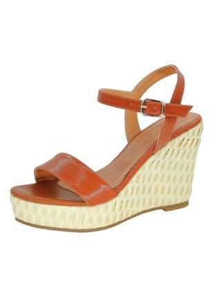 Sandália infinity shoes anabela juta caramelo