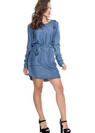 Vestido em liocel com faixa - lemier - 53275