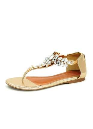 Rasteira infinity shoes pedraria dourada