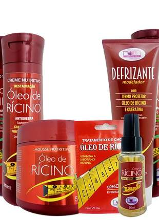 Kit óleo de rícino romanholi completo crescimento capilar 07 produtos