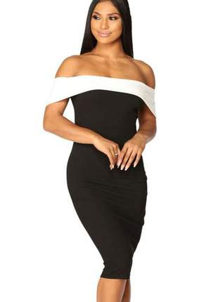 Vestido feminino ombro a ombro tubinho midi