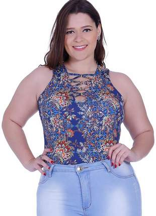 Body feminino zigma plus size moda maior blusa