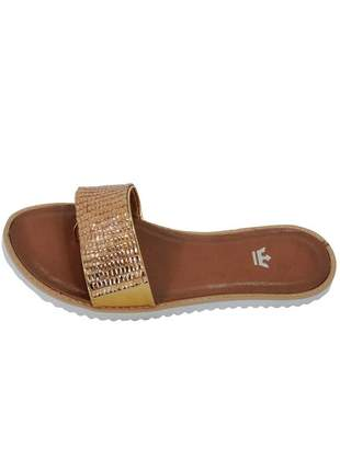 Rasteira infinity shoes k pedraria dourado