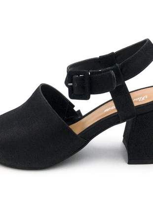 Sandália feminina nobucado preto salto grosso baixo