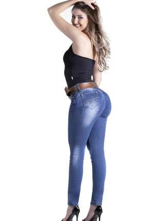 Calça jeans feminina zigma skinny com cinto levanta bumbum