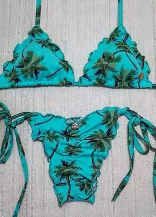 Biquini ripple empina  bumbum estampa tropical coqueiros .