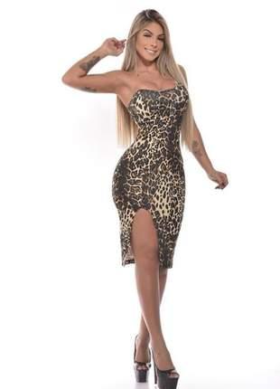 Vestido midi tomara que caia com fenda lateral em animal print