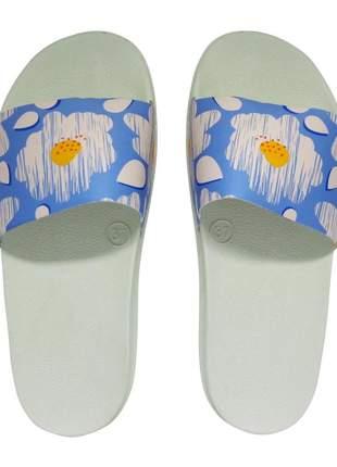 Chinelo slide dawae vetor floral azul
