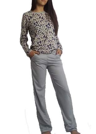 Pijama feminino conjunto filete 005 outono/inverno