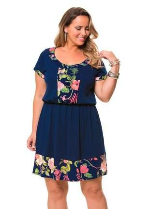 Vestido azul liso com estampa