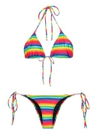 Biquini cortininha arco iris
