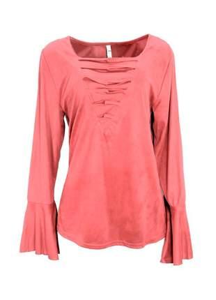Blusa infinity fashion suede vermelho