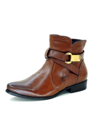 Bota infinity shoes cano curto conhaque