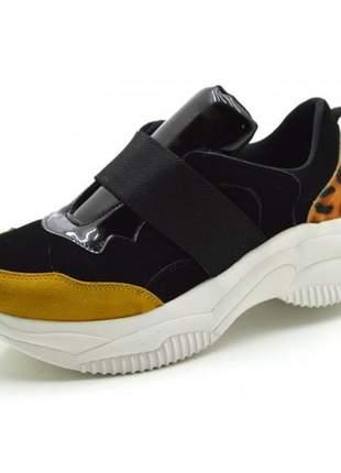 Tênis sneakers chuncky elástico em nobucado preto com tecido onça