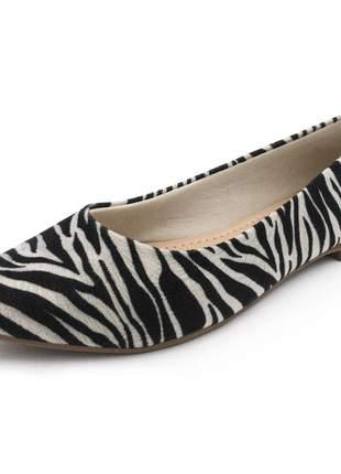 Sapatilha feminina bico fino estampa zebra