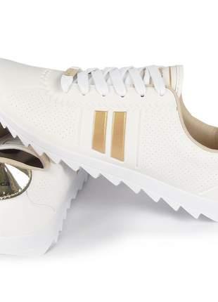 Tênis branco feminino casual tratorado sapatênis moda confortavel moleca moving
