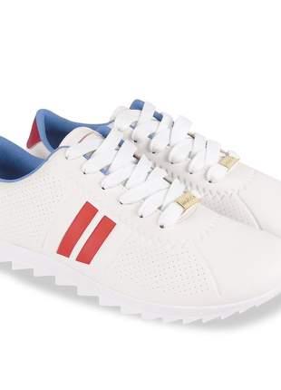 Tênis branco feminino tratorado moving casual sapatênis moda confortavel