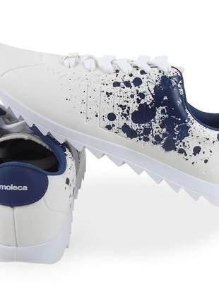 Tênis feminino branco/azul moleca tratorado moving 5632.114