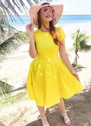 Vestido midi godê liso modesto - amarelo