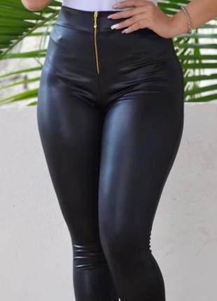 Calça legging de zíper em cirrê lançamento instagram 2019