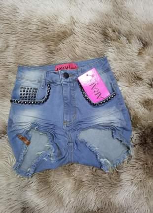 Short jeans cintura alta claro da larah promoção verão
