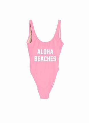 Maiô com frase aloha beaches