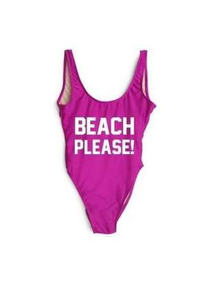 Maiô com frase beach please!