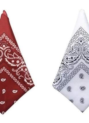 Kit 2 lenço bandana 100% algodão estampa rock