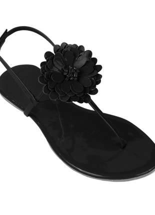 Sandália flat com flor verniz preto mercedita shoes
