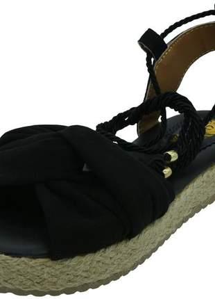 Sandalia de amarrar nobuck preta