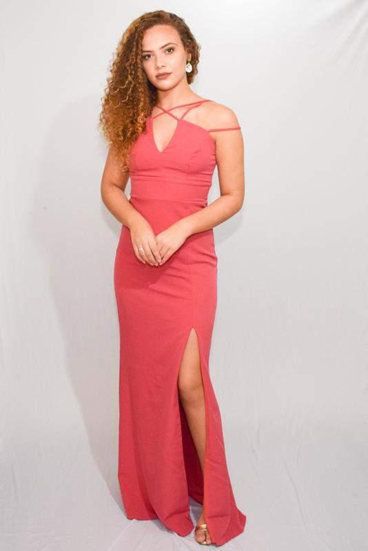3fb1b057a Vestido festa longo rosa goiaba pink decote renda casamento - R ...