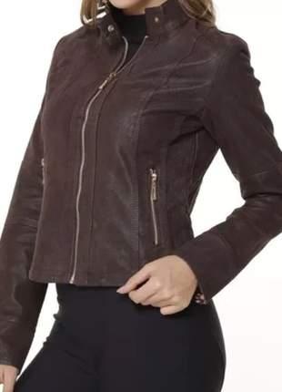 Jaqueta feminina em couro ecológico com forro de onça