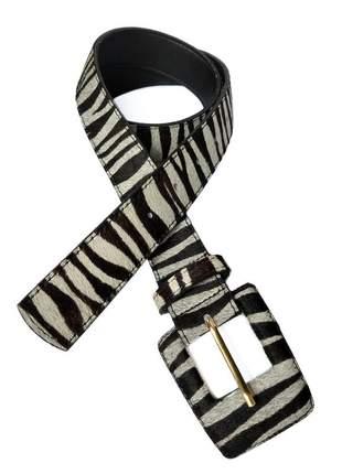 Cinto feminino animal print zebra couro legítimo com pelos