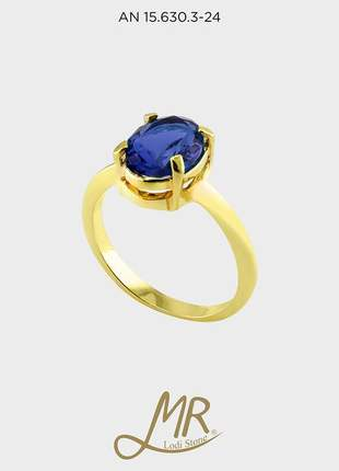 Anel oval vidro folheado a ouro 18k