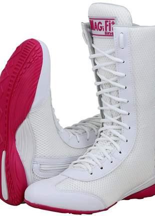 Botinha treino fitness academia musculação branco com rosa
