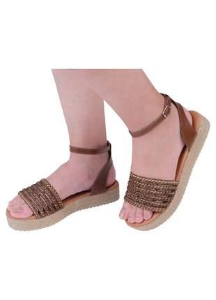 Sandalia flatform jurerê mercedita shoes caramelo
