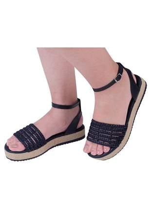 Sandalia flatform jurerê mercedita shoes preto