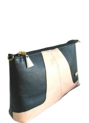 Mini bag transversal em couro legítimo divino - ref 18001 preto + nude